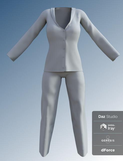 FG dForce Silk Pajamas for Genesis 8 Female