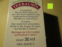 Verpackung Rückseite: BADERs Teebaumöl AMAX MA-100, 30 ml
