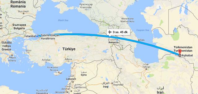 türkmenistan istanbul kaç saat