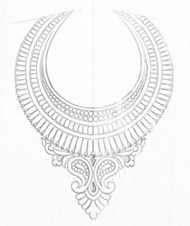 Hand emroidery Neck design patterns pencil sketch on tracing paper for hand emroidery and machine embroidery design