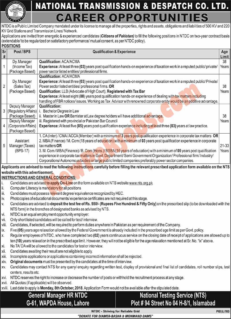 NTS Jobs National Transmission & Despatch Company Limited Lahore 2018