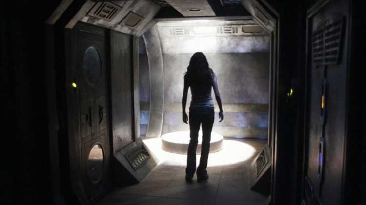 "Chloe is about to be captured in the SGU episode ""Space"""