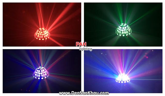 Đèn LED Fabu cho ra 52 tia LED chiếu thẳng vào không gian với các đốm chấm sẽ làm cho không gian trở nên lung linh đầy màu sắc.
