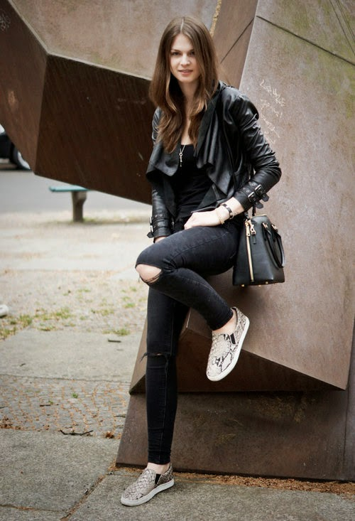 leather jacket with slip on sneakers