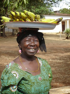 Selling green bananas in Cameroon Africa
