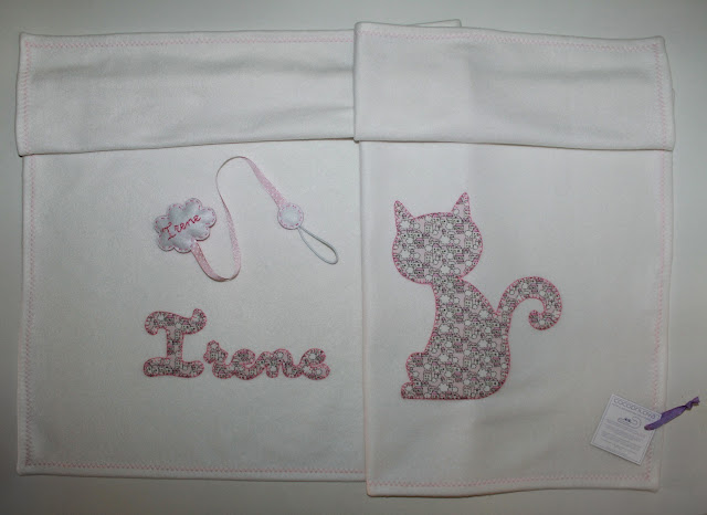 canastilla de bebe personalizada rosa con gato