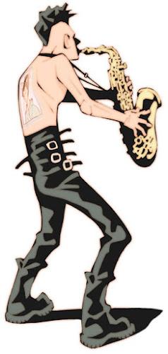 映画『マッドマックス・サンダードーム』に敬意を捧げて描いた、サックスを吹くモヒカンマンを描いた絵