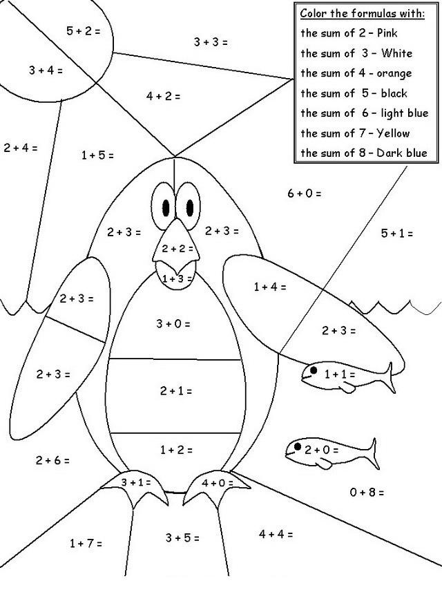 Colorear Pinguino Con Sumas Dibujo Views