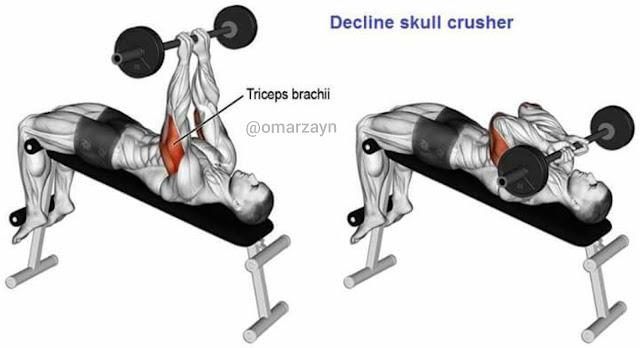 decline skull srusher workout