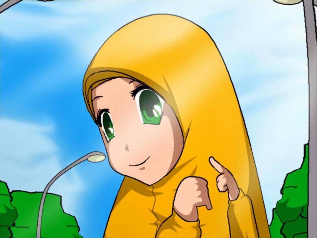 Wallpaper Atau DP BBM Kartun Muslimah Cantik Khusus Android 2015