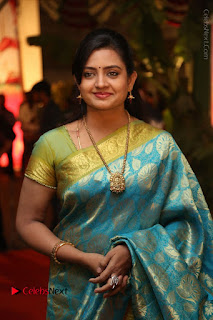 Actress Indraja Stills in Blue Silk Saree at Shatamanam Bhavathi Audio Launch  0011.JPG