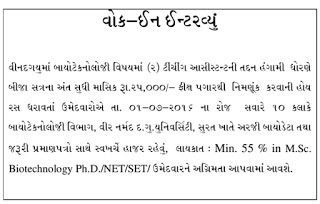 VNSGU-Surat-Walk-in-Interview-for-Teaching-Assistant-Posts-2016