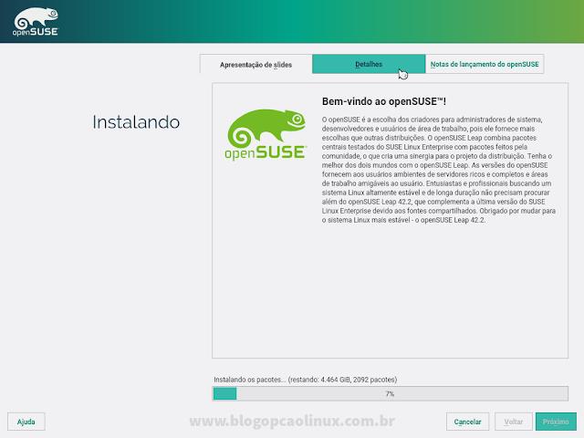 Aguarde enquanto o openSUSE é instalado no seu computador