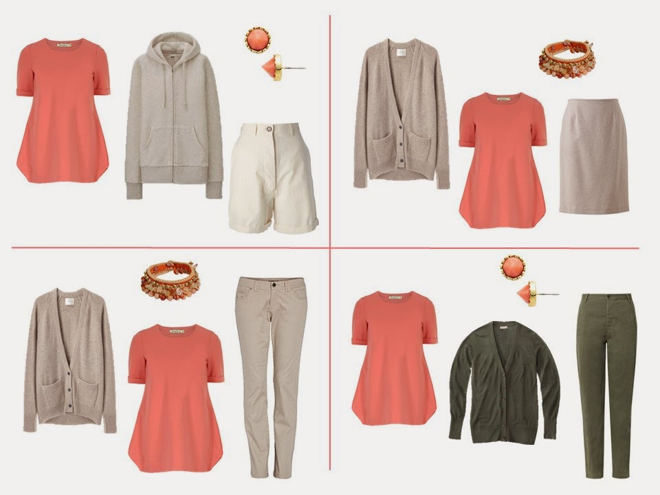 wear coral and khaki together, wear coral and beige together, wear coral and olive together