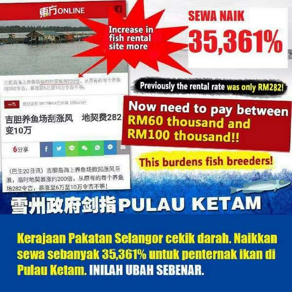Kerajaan Pakatan Selangor Naikkan Cukai Kolam Ternakan Ikan 35,361% dari RM282 Kepada RM100,000 - Akhbar Cina