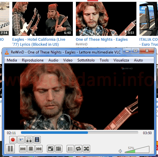 Video YouTube in riproduzione su VLC con addon Open in VLC