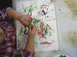 Spaghetti Painting or Worm painting