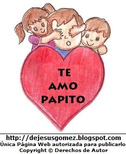 Dibujo por el Día del Padre pintado a colores. Dibujo del día del padre hecho por Jesus Gómez