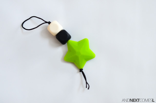 How to make a DIY chewable zipper pull for kids from And Next Comes L