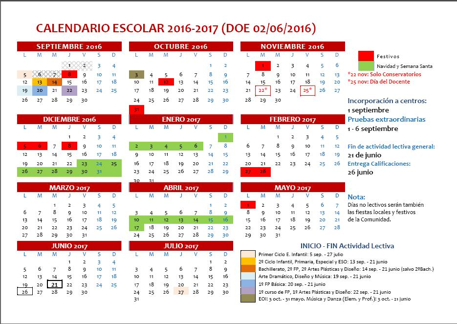 Calendario Escolar Extremadura.Blog Ceip El Rodeo Calendario Escolar Del Curso 2016 2017