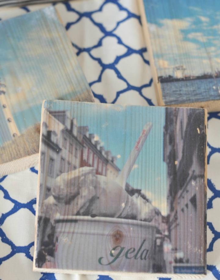 Bilder-Adventskalender auf Holz gezogen - Erinnerungen zum Aufstellen
