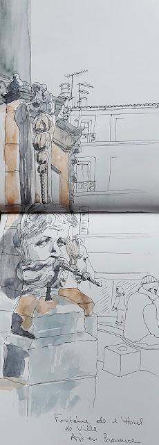 fontaine place hotel de ville aix en provence