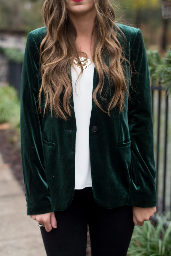 089f17d1a89218 Christmas Party Outfit Idea | Styling Green Velvet Blazer - Chasing ...