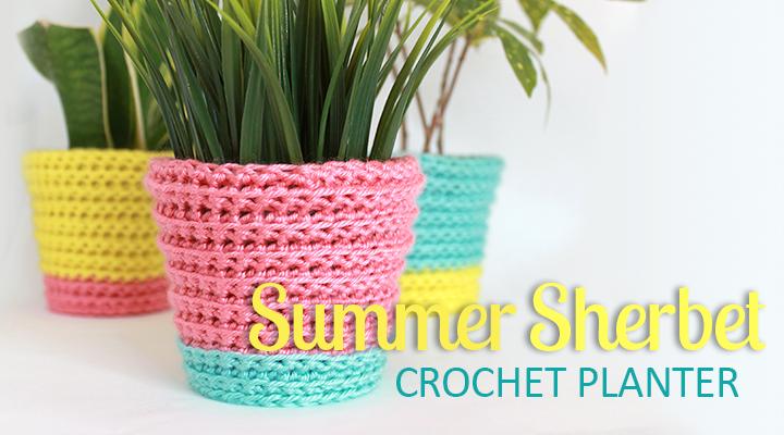 Tutorial: Summer Sherbet Crochet Planter Cover | The Inspired Wren