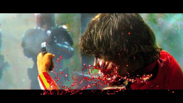 Dredd Film Still of graphic gun shot wound