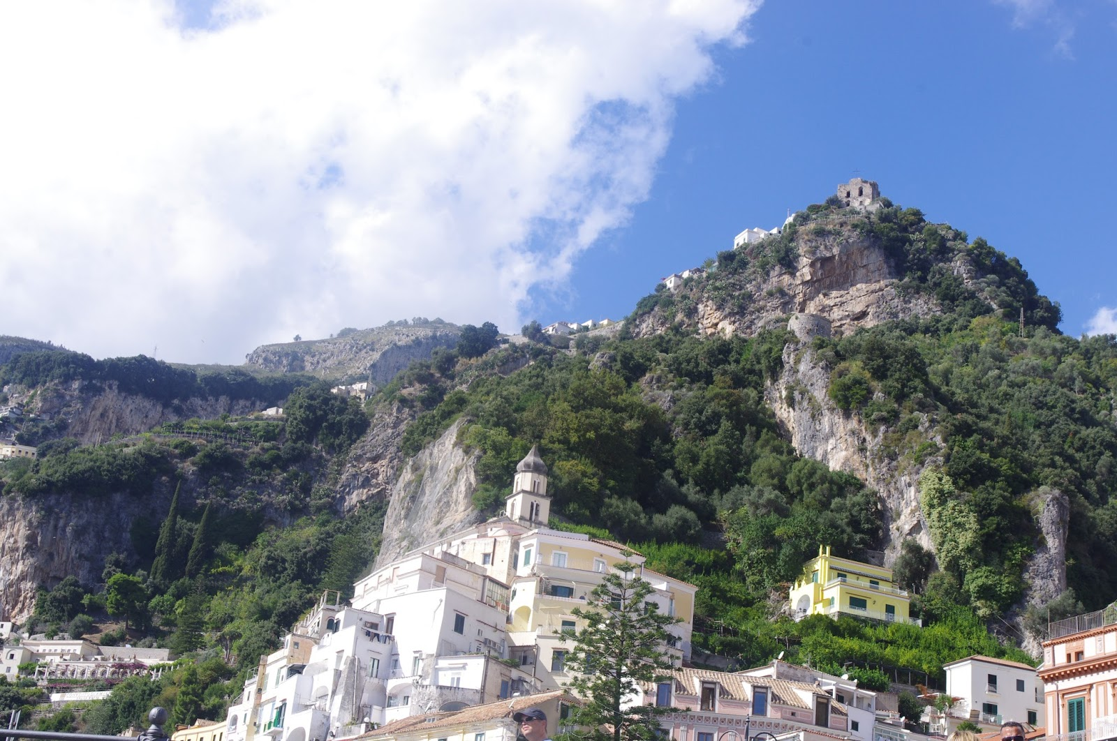View of cliffs above Positano