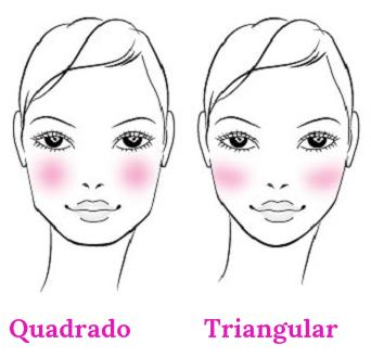 blush formatos de rosto quadrado