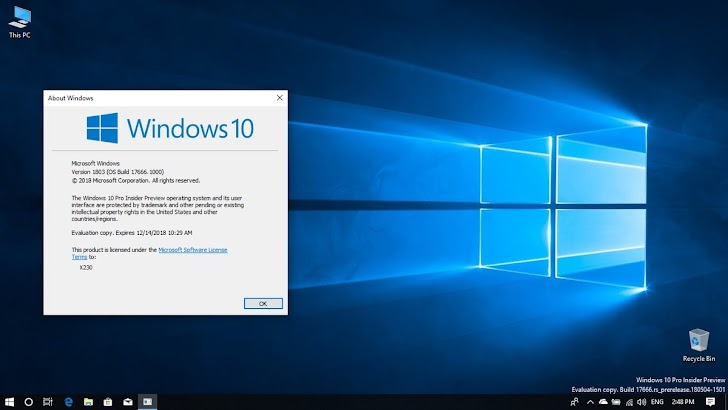Review Windows 10 Insider Preview Build 17666