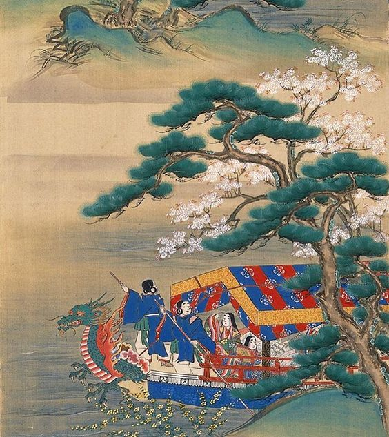 Cherry Blossom in the spring from a boat - Sumiyoshi Hirosada