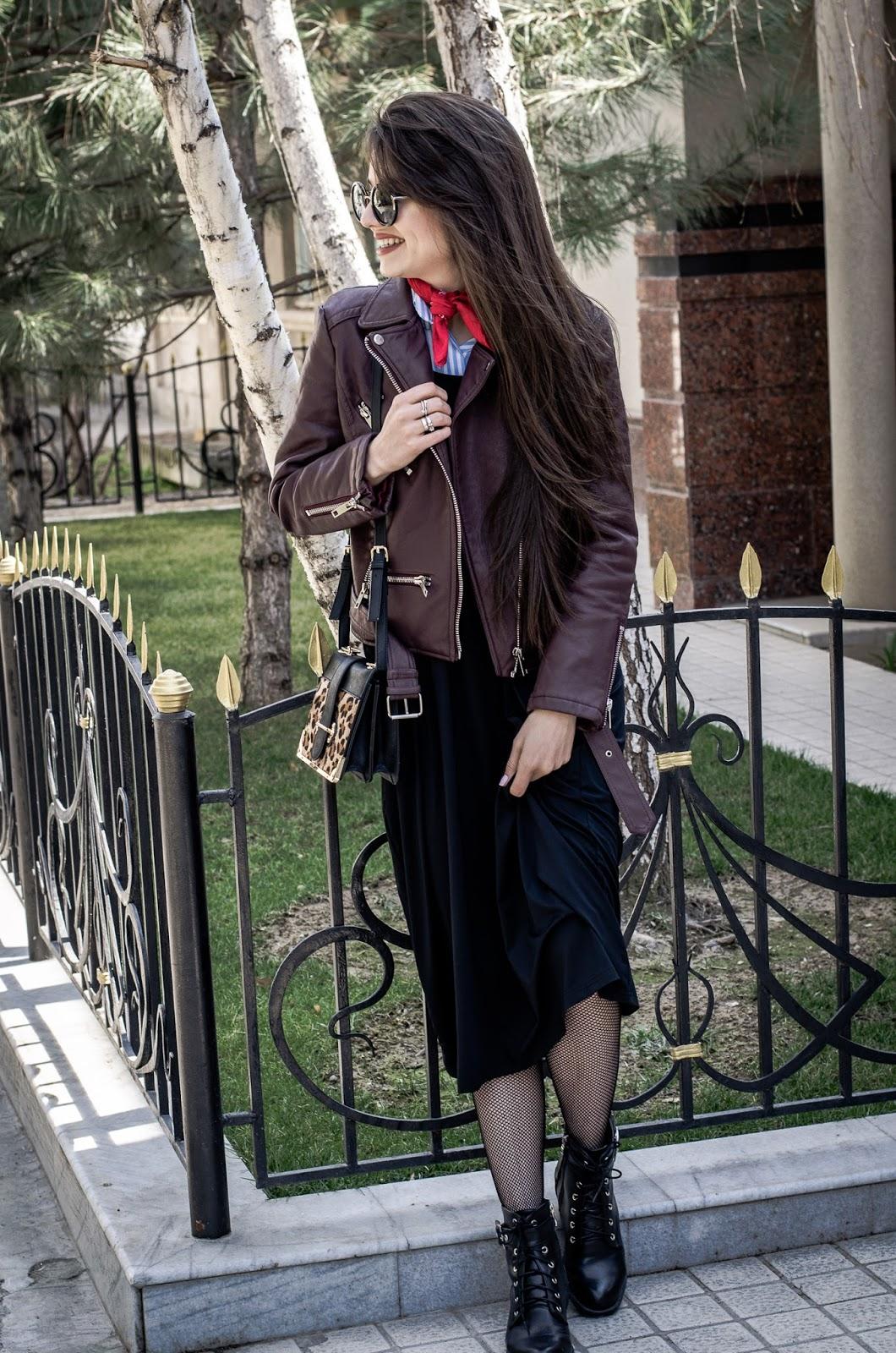 fashion blogger diyorasnotes diyora beta cami dress shein leather jacket fishnet tights boots