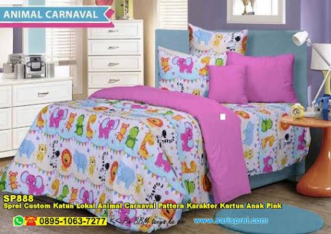 Sprei Custom Katun Lokal Animal Carnaval Pattern Karakter Kartun Anak Pink
