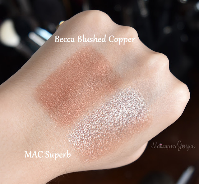 Becca Shimmering Skin Perfector Pressed Blushed Copper vs MAC Superb Swatches