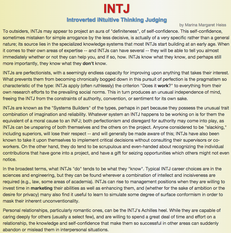 e-comm blog: Meyers-Briggs Personality Test