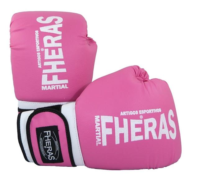 Loja Dafiti: Kit Boxe Fheras Muay Thai Luva Bandagem Caneleira Style Bucal Rosa