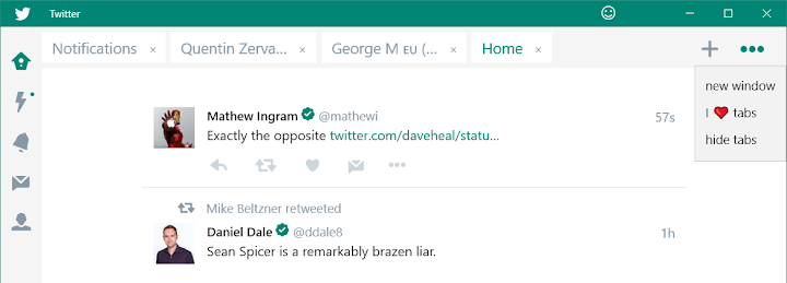 Twitter app for Windows 10 adds tabs