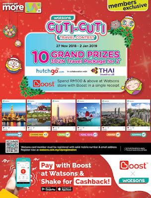 WATSONS WELCOMES YEAR-END WITH 'BUY BUY' SALES OF UP TO 50% WATSONS MEMBERS REWARDED WITH YEAR-END BARGAIN SALES WITH A CHANCE TO WIN TRAVEL PACKAGES TO ASEAN DESTINATION.