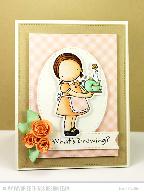 What's Brewing Card by Jodi Collins featuring the Pure Innocence Steeped in Love stamp set and Die-namics, and the Mini Rolled Roses, Royal Leaves, Stitched Fishtail Flag STAX, Stitched Oval STAX, blueprints 2, and Blueprints 13 Die-namics #mftstamps