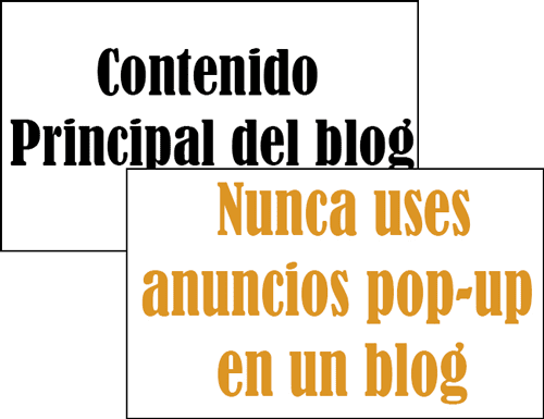 Nunca uses anuncios pop-up en un blog