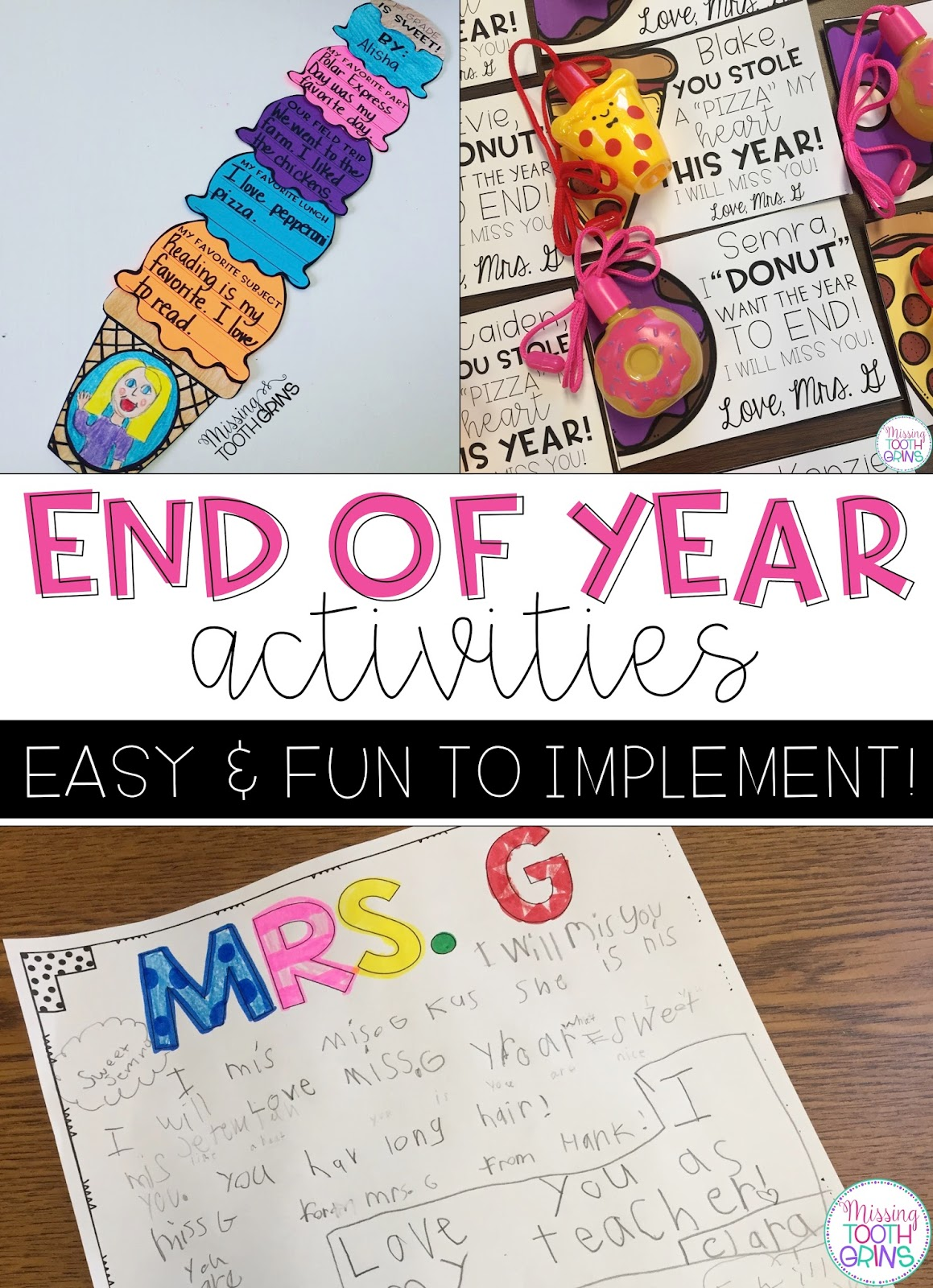 End Of Year Fun Worksheets : Fun end of the school year activities missing tooth grins