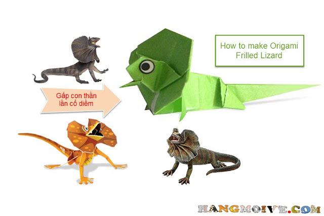 Hướng dẫn cách gấp, xếp con Thằn lằn cổ diềm bằng giấy origami - How to make an Origami Frilled Lizard