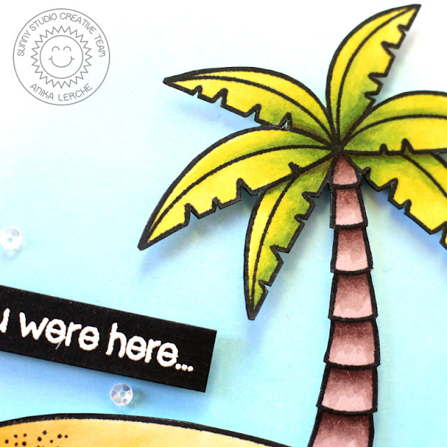 Sunny Studio Stamps: Island Getaway Palm Tree Wish You Were Here card by Anni Lerche.