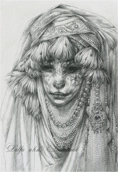 08-Cat-Nomad-Bride-Olga-Anwaraidd-Drawings-Fantasy-Portraits-Imaginary-Characters-www-designstack-co