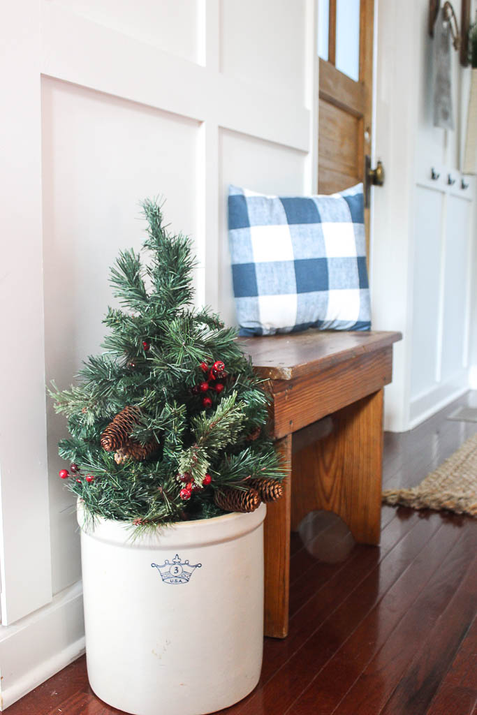 christmas tree in an antique crock