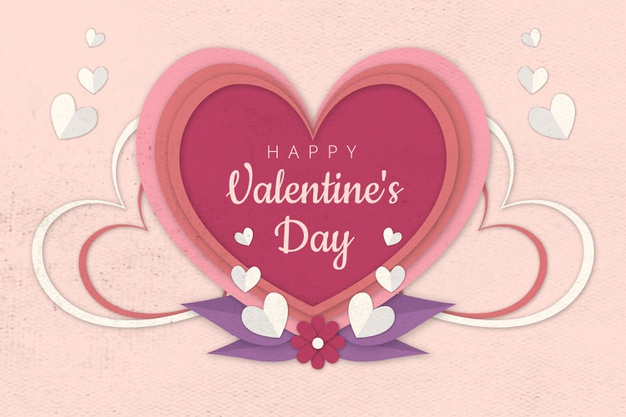 Valentine's day background in paper style Free Vector Background