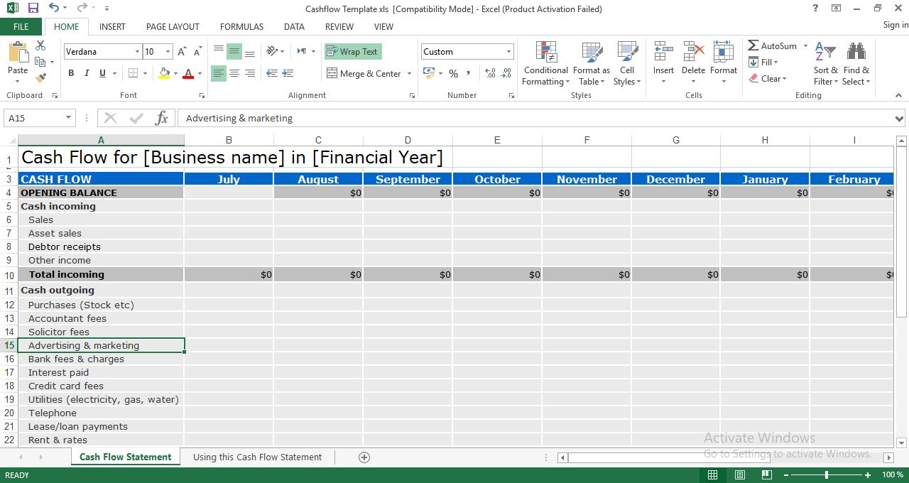 Cash Flow Statement Excel Template Engineering Management