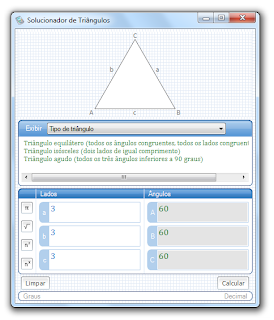 Solucionador de triângulos - tipos de triângulos
